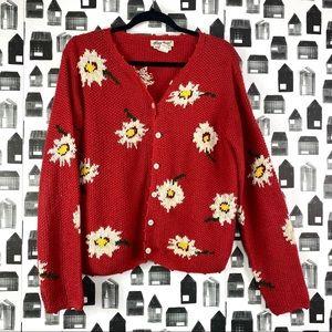 Eddie Bauer | Hand Knit Floral Button Cardigan